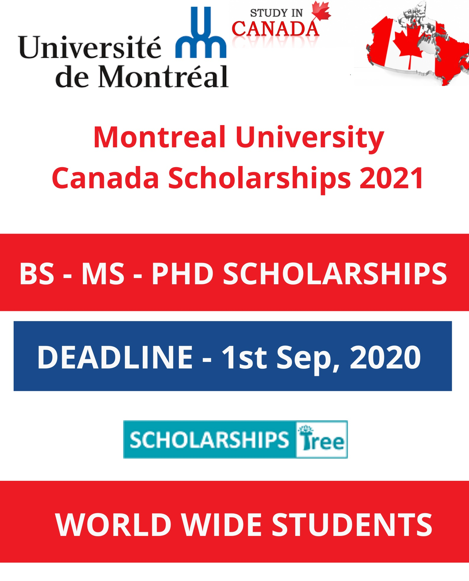 Montreal University Canada Scholarships 2021
